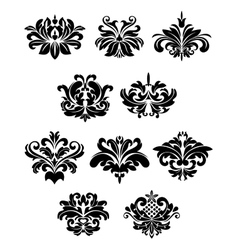 Black damask floral design elements vector