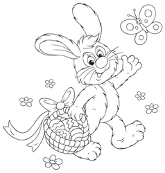 Easter bunny with a basket of eggs vector