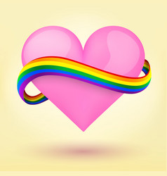 Lgbt background heart and rainbow ribbon vector