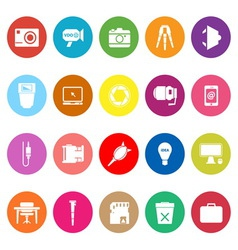 Photography related item flat icons on white vector