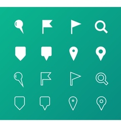 Gps and navigation icons on green background vector