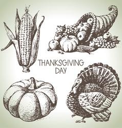 Hand drawn vintage thanksgiving day set vector