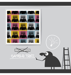 Character in museum with monsters in frame vector