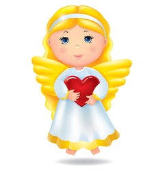 Angel with red heart vector