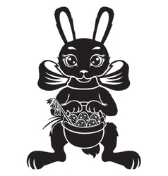 Hare with basket vector