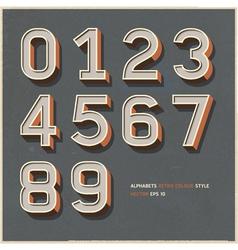 Alphabet number retro color vector