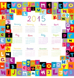 2015 calendar with letters for schools vector