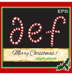 Abcdef christmas sugar-candy font on a background vector