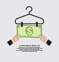 Bank note dry on clothes hanger finance and vector