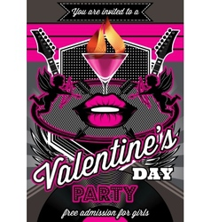 Disco background for valentine party poster vector
