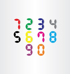 Digital stylized numbers from 0 to 9 vector