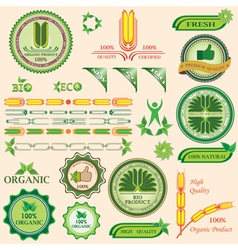 Set of bio and organic badges vector