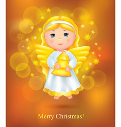 Christmas card with angel vector