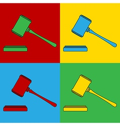 Pop art judge gavel icons vector