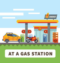 Car and motorcycle at a gas station vector