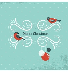 Christmas background with birds and holly leafs vector