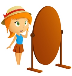 Fashion girl with mirror vector