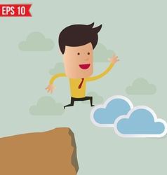 Business man jump across the hill - - eps10 vector