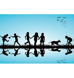 Group of children and a dog playing outdoor vector