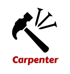 Hammer and nails icon vector