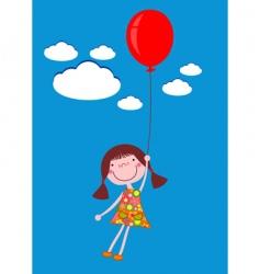 Girl with balloon vector