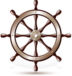 Steering wheel for ship vector