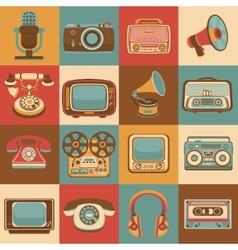 Retro media icons vector