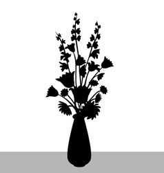 Flower branch with flower vase silhouette vector