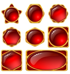Buttons with red gems set vector