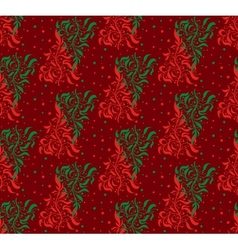 Red and green floral seamless pattern vector