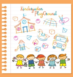 Kindergarten kids characters and playground set vector