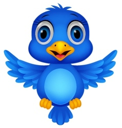 Cute blue bird cartoon vector