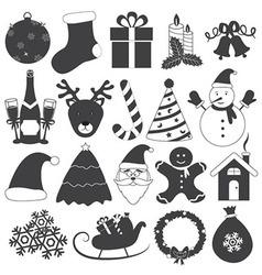 Black and white christmas icons set vector