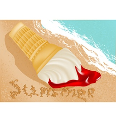 Ice cream on the beach vector