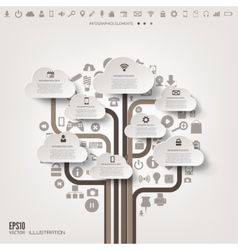 Icon tree flat abstract background with web icons vector