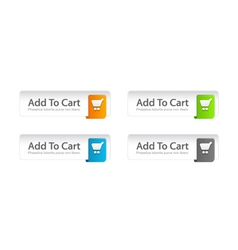 Colorful add to cart buttons set vector