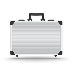 3d realistic aluminum briefcase vector
