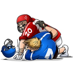 Football players fight and punch vector