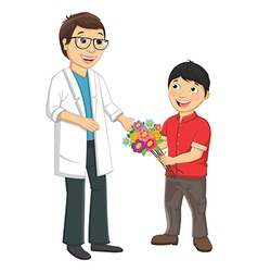 Kid give flower to teacher vector