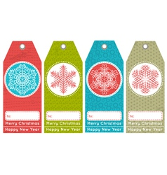 Vintage christmas labels with sale offer vector