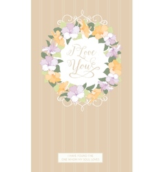 Vertical card with floral frame vector
