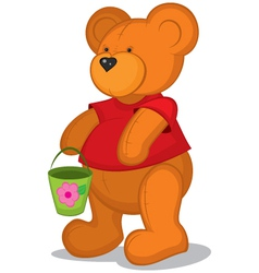Teddy bear with pail in red vector