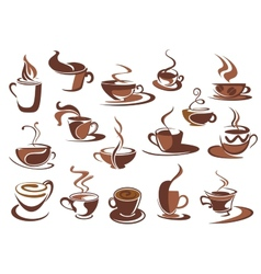 Hot coffee icons and symbols vector