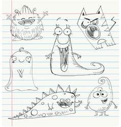 Monster doodles set 1 vector