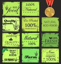 Collection of eco and bio labels retro design vector