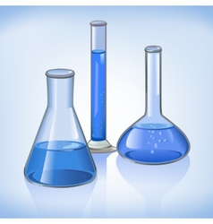 Blue laboratory flasks glassware symbol vector