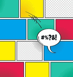 Comic template element with speech bubble halftone vector