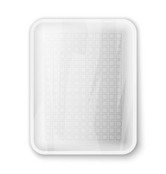 Empty white food tray vector