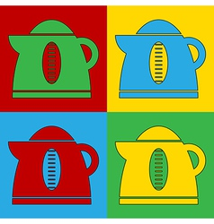 Pop art electric kettle icons vector