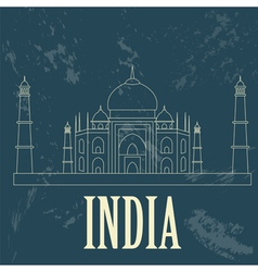 India landmarks retro styled image vector